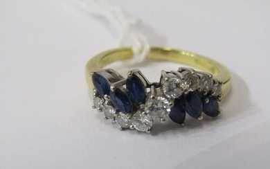 18ct YELLOW GOLD SAPPHIRE & DIAMOND RING, unusual bypass des...