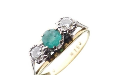 18ct gold, emerald and diamond three stone ring, with...