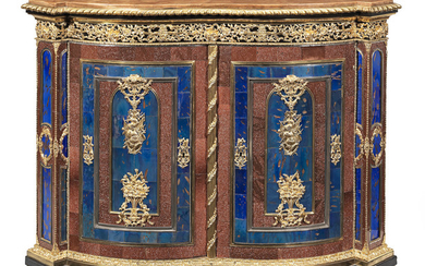 A gilt bronze, silvered metal, aventurine glass and blue coloured glass mounted ebony and ebonised side cabinet