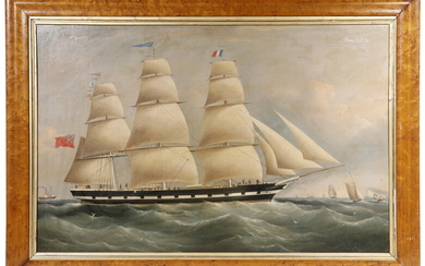 19TH C. CHINA TRADE BRITISH SHIP'S PORTRAIT