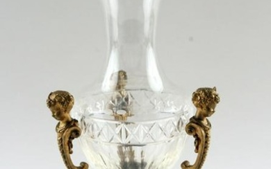 19TH CENTURY GILT BRONZE & CRYSTAL CENTERPIECE