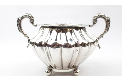 19thC Victorian 2 handled Silver Sucrier of bombe form with ...