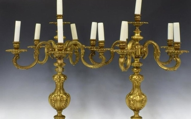 (2) FRENCH GILT METAL SIX-LIGHT CANDELABRA