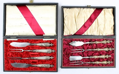 2 cutlery sets in baroque style, historicism around 1880, silver-plated handles, blades and prongs of steel, each as a set of butter and cheese knives, one set with devious hallmarks, signs of age and wear, each in its original case, 2518 - 0051