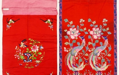 2pc Chinese Silk Embroidered Phoenix and Bird Panels