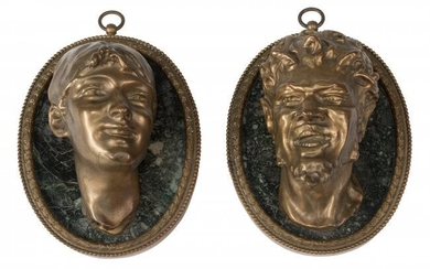 61018: A Pair of Italian Gilt Bronze Mounted Busts on O