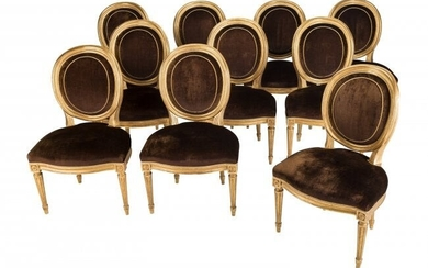 61018: Ten Louis XVI-Style Giltwood and Velvet Oval Bac
