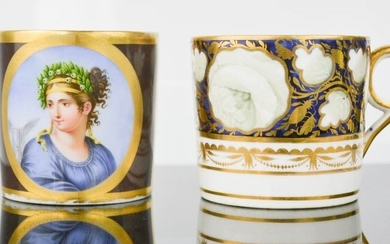 A 19th century Sevres porcelain coffee can, marked to base i...
