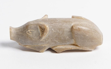 A CHINESE CARVED 'QINGTIAN' STEATITE FIGURE OF A RECUMBENT PIG ZHEJIANG PROVINCE, THREE KINGDOMS PERIOD (220-280 AD)