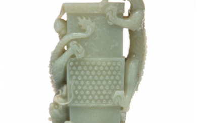 A Chinese White Jade Vase with Dragon Figure
