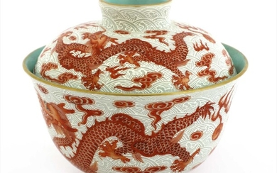 A Chinese iron-red tea bowl and cover