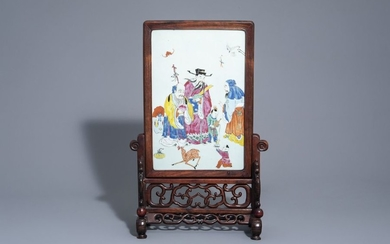 A Chinese wooden table screen with a famille...
