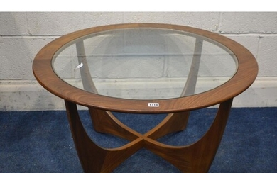 A G PLAN ASTRO CIRCULAR TEAK COFFEE TABLE, with a glass inse...
