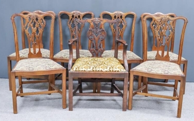 A George III Mahogany Armchair and a Set of...