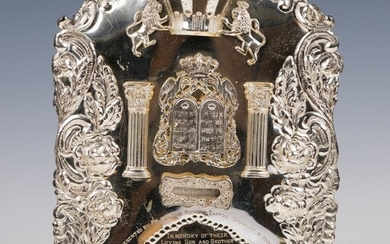 A LARGE STERLING SILVER TORAH SHIELD. American, c.