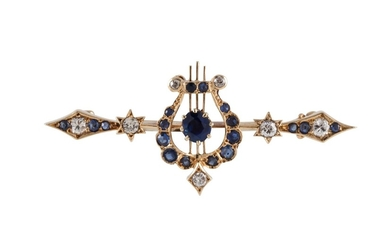 A LATE VICTORIAN SAPPHIRE AND DIAMOND BROOCH, of Greek lyre ...