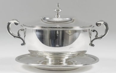A Late Victorian Silver Circular Two-Handled Bowl, Cover and...
