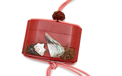 A Mother-of-Pearl Inlaid Red Lacquer Two-Case Inro