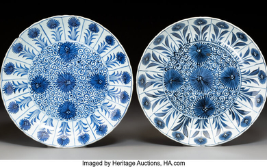 A Near-Pair of Chinese Blue and White Porcelain Chargers (Qing Dynasty)