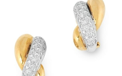 A PAIR OF DIAMOND HOOP EARRINGS in 18ct yellow and
