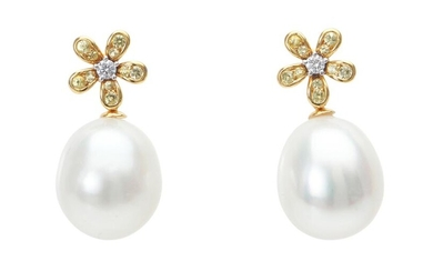 A PAIR OF SOUTH SEA PEARL, SAPPHIRE AND DIAMOND EARRINGS