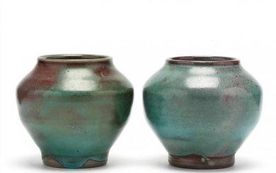 """A Pair of Ben Owen Master Potter """"Chinese Blue"""" Vases"""