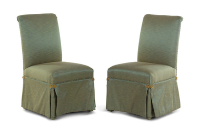 A Pair of Contemporary Scroll Back Padded Side Chairs