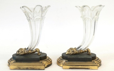 A Pair of French Gilt and Patinated Metal Mounted Glass...