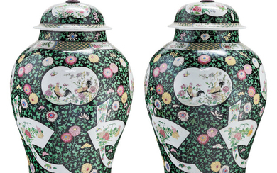 A Pair of Large Chinese Famille Noire Porcelain Vases with Covers (20th century)