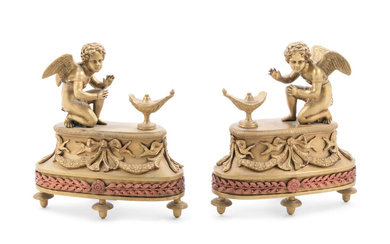 A Pair of Louis XV Style Patinated Bronze Figural Chenets