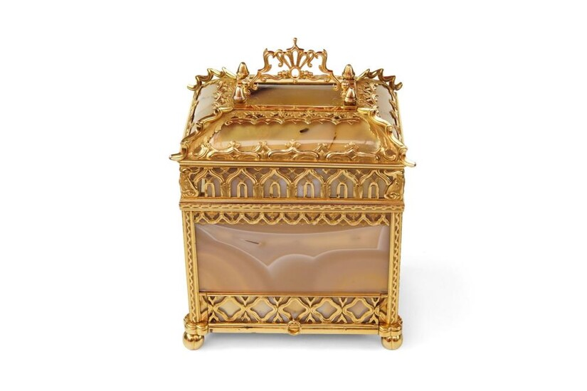 A Rare Gold and Agate Perfume Necessaire