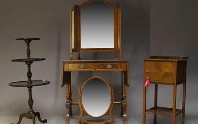 A Regency style mahogany and line inlaid sofa table, the...