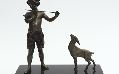 A SPELTER AND MARBLE FIGURE OF BOY PLAYING FLUTE WITH DEER LOOKING ON, 42 CM WIDE, 40 CM HIGH, LEONARD JOEL LOCAL DELIVERY SIZE: SMALL
