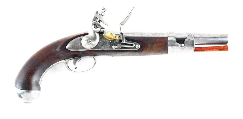 (A) US MODEL 1813 FLINTLOCK PISTOL BY S. NORTH.