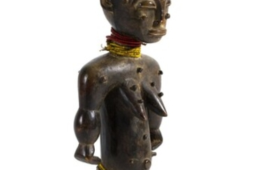 A WOODEN FEMALE FIGURE
