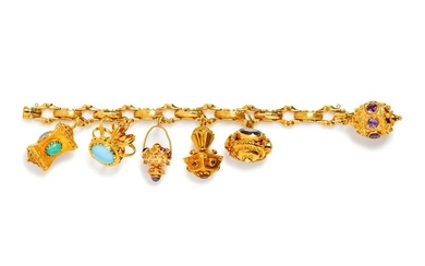 A Yellow Gold and Gemstone Charm Bracelet,