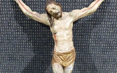 A carved and polychromed wooden christ. Spain 18th...