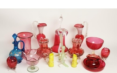 A collection of Victorian and later cranberry glass, to incl...