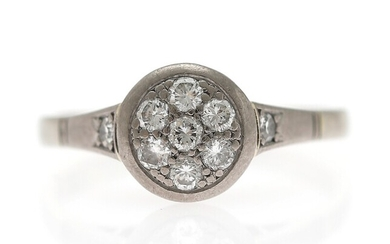 NOT SOLD. A diamond ring set with numerous brilliant-cut diamonds, mounted in 14k white gold....