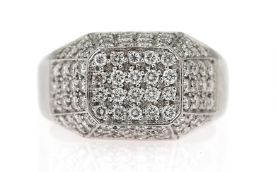 A diamond ring set with numerous diamonds weighing a total of app. 1.10 ct., mounted...