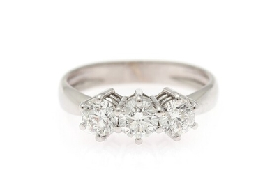 A diamond ring set with three brilliant-cut diamonds weighing a total of app. 1.22 ct., mounted in 18k white gold. Colour: TW. Clarity: VVS. Size 54.