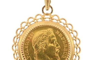 A gold coin of 20 FF Napoleon III lauré 1866 BB mounted as a pendant on 18 K yellow gold (750 °/°°), the border poly-lobed and openwork.