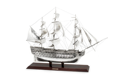 A large silver model of HMS Victory