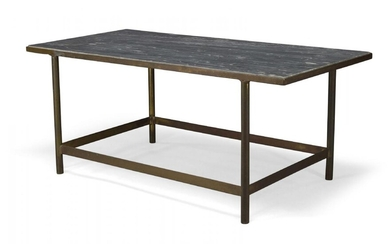 A marble and brass coffee table c.1970 The rectangular grey...