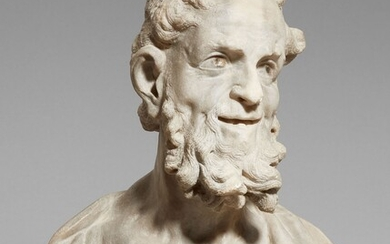 A marble bust of an old man