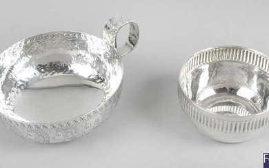 A mid-20th century silver wine taster, plus a small Victorian silver bowl. (2).