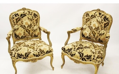 A pair of 19th century Louis XVI style fauteuils, the emboss...