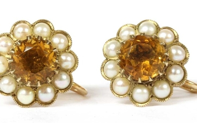 A pair of 9ct gold citrine and split pearl cluster earrings