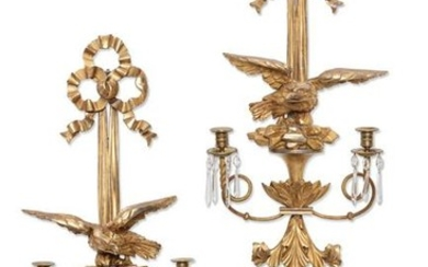 A pair of Neoclassical giltwood wall sconces