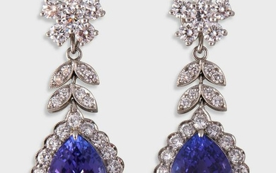 A pair of tanzanite, diamond, and platinum drop